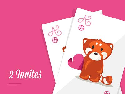 2 invites invites cards red panda playing invitations draft dribbble