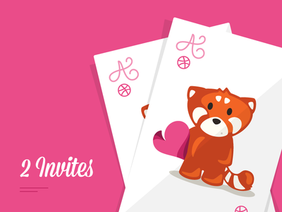 2 invites invites cards red panda playing invitations draft dribbble