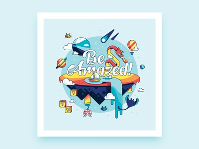Be Amazed Print sail boat waterfall manta ray hot air balloon comet dragon planets video games mario typography illustration