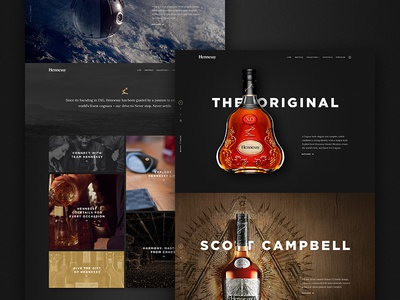 Hennessy Home Page beverage alcohol cognac style exploration redesign website