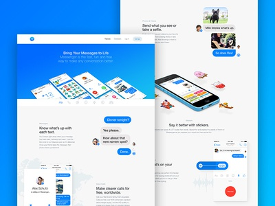 Facebook Messenger Website blue fun stickers chat app product design website