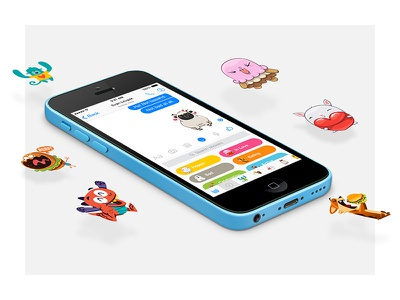 Facebook Messenger Stickers blue fun stickers chat app product design website