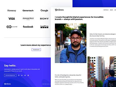 Portfolio About Me city portrait description clients logos contact hello personal about portfolio