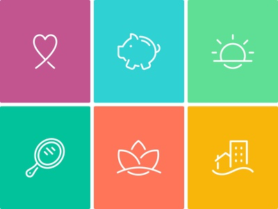 Gather Icons home lily mirror sun bank pig heart healthcare color line vector icon