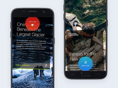 News Reader Gestures cards dislike. later like motion gestures reading news mobile concept app