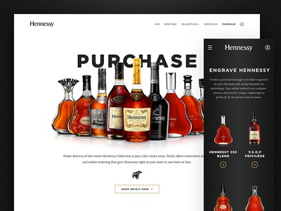 Hennessy Purchase Page bottles engrave mobile responsive website cognac alcohol drizly ecommerce purchase