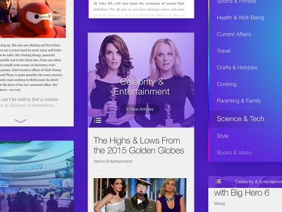 News Reader Exploration interactions read color purple personality style discovery exploration news app