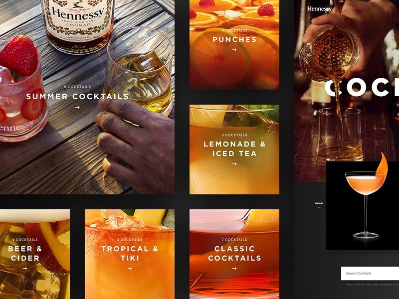 Dribbble hennessy cocktails