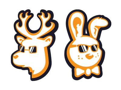Stag & Hare Stickers cartoon animals orange stickers stag hare deer rabbit sunglasses bow tie illustration