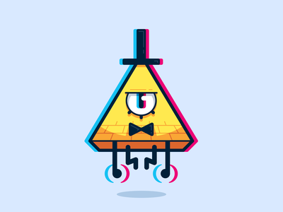 Bill Cipher Sticker cipher bill bow tie hat eye triangle yellow red blue color shift 3d spooky scary evil falls gravity cartoon illustration sticker
