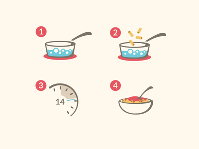 Cooking Instructions Icons icons illustration pasta instructions steps boil water clock time kitchen food preparation symbols