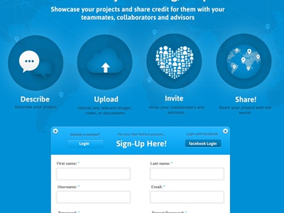 Map blue asap icons map sign-up login button facebook signup web app website form masthead
