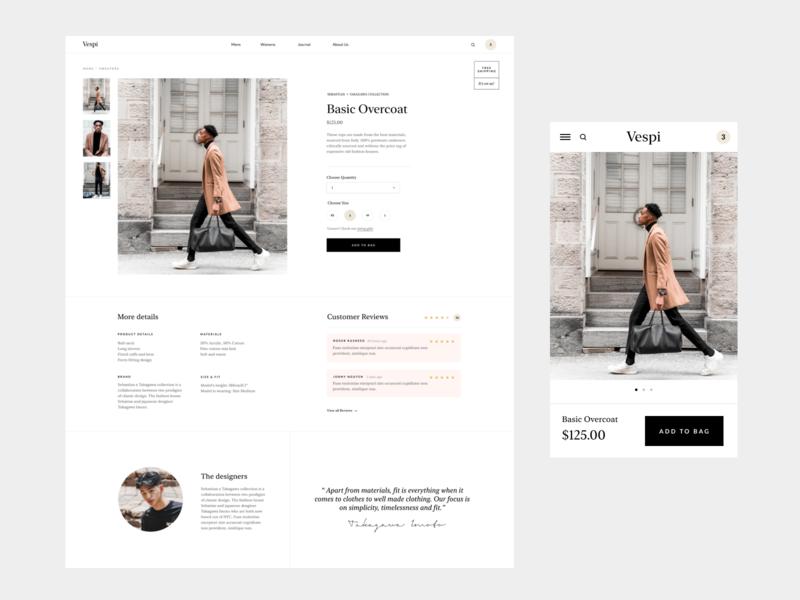 Product page webdesign ecommerce design course minimal