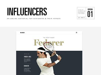 Influencers influencers editorial typography web design tennis federer