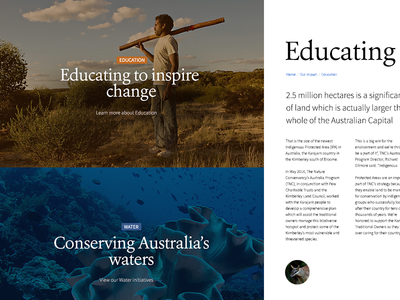 Nature Conservancy not for profit conservation nature web typography
