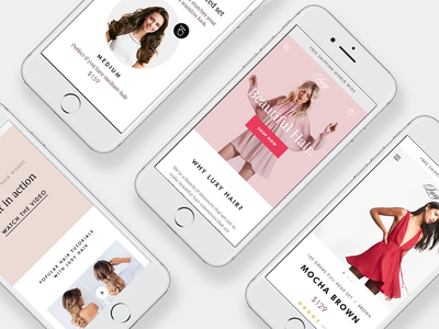 Luxy Hair – Mobile typography fashion smb luxy hair ecommerce