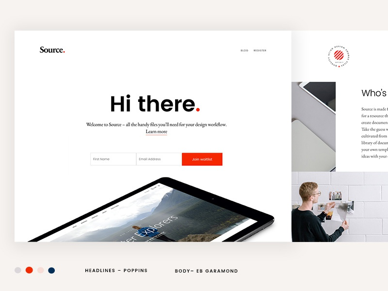 Source landing page resource source design files launch