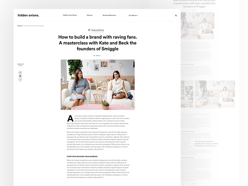 Hidden Onions Article Page editorial article typography blog zine magazine female founders