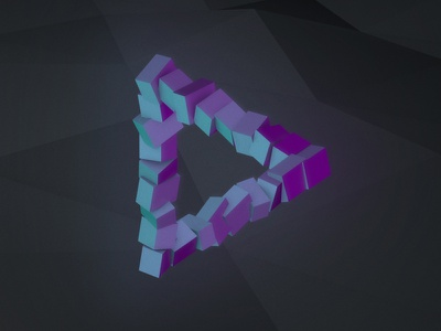 Illusion 01 impossible cinema 4d c4d geometric render 3d triangle penrose tri iso isometric object illusion
