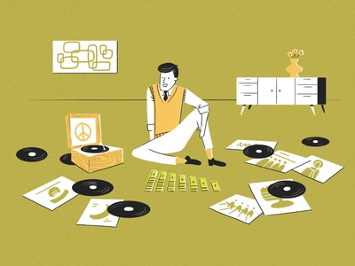 Listening to music record player 60s midcentury solitaire far out games school of motion illustration for motion illustration