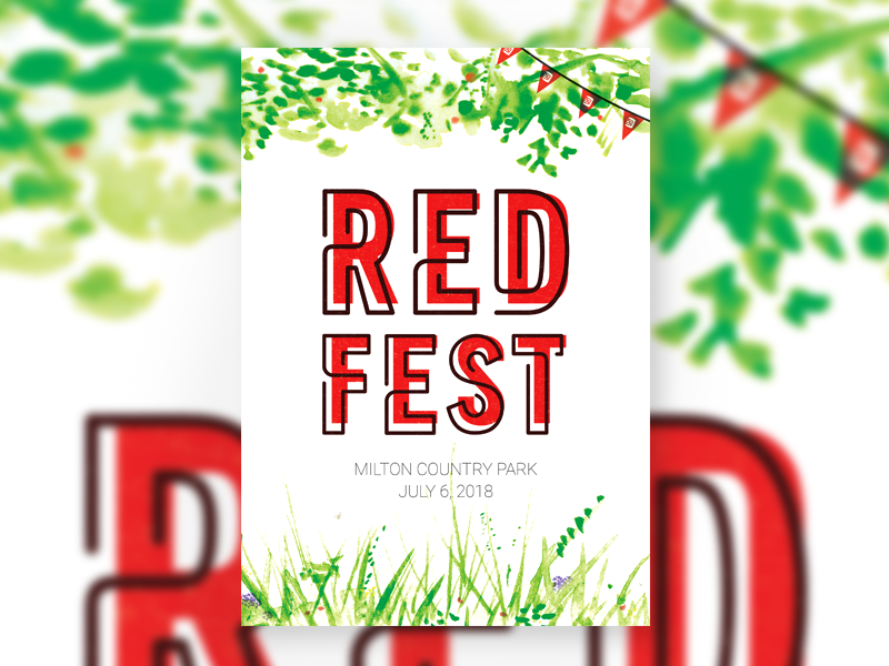 REDFEST poster orchard watercolour festival poster