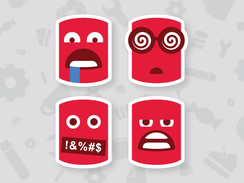 Redgate emoji stickers bearing teeth drooling swearing hypnotized stickers emoji