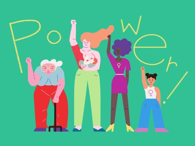 Girl power! women girl power girls minimal character design design illustration