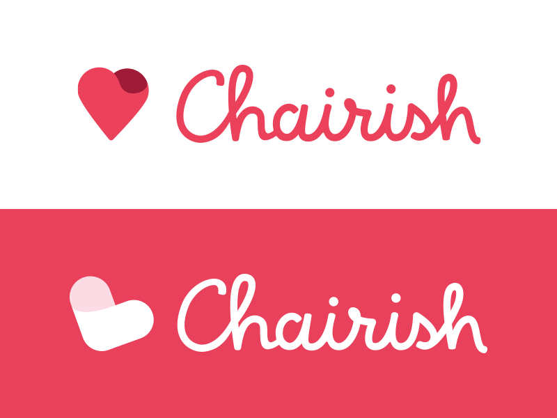 Chairish Logo Exploration logo mark icon script heart pink