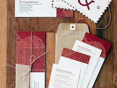 Wedding Stationary wedding invitation san francisco stationary envelope map postcard