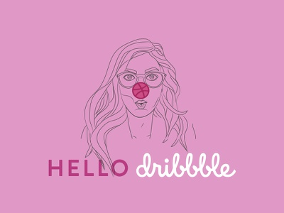Hello Dribbble portrait clown pink illustration hello graphic design debut dribbble