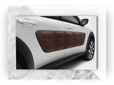 Back cover of Look Book C4 Cactus Citroën Car detail marble print page look book graphic design cover car brochure