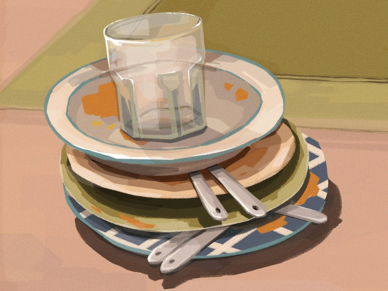 Dirty dishes color study study art photoshop illustration