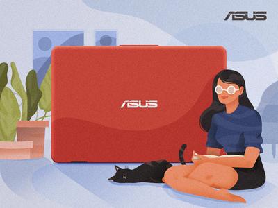 Asus web content design art design vector technology cat lady illustration asus