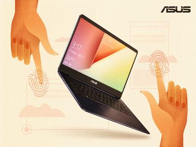 Zen Book hand laptop computer design vector technology fashion content design asus illustration