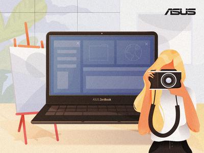 Asus branding facebook laptop fashion illustration camera web content design art digital illustration digital drawing content woman computer design technology vector asus illustration