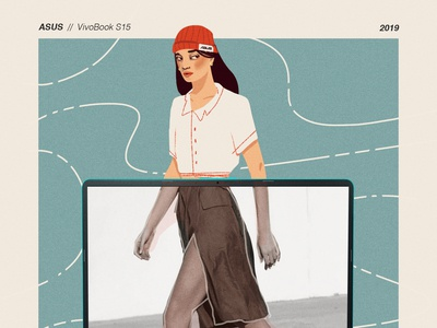 Asus Vivo Book blue fashion illustrator laptop computer technology photoshop fashion illustration fashion vector art content design illustration design