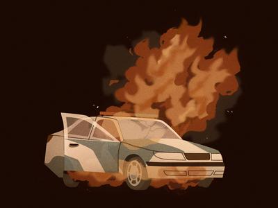 Burn car police car police photoshop design art illustration