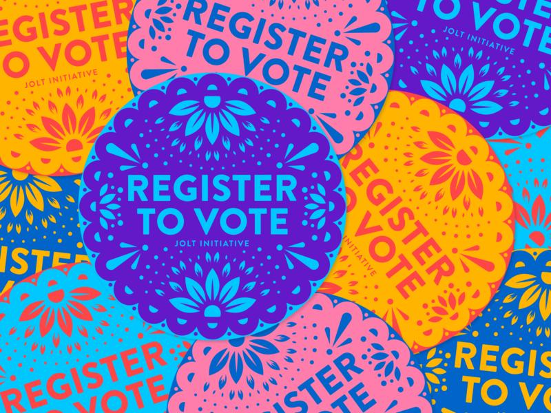 Register to Vote Stickers for Jolt Initiative circle badge flower pattern sugar skull branding design illustrator illustration beavoter vector dia de los muertos day of the dead papel picado circle sticker vote register to vote