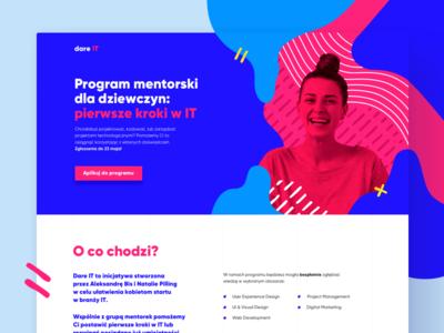 dare IT | woman-to-woman mentorship program dare it landing page program mentorship lp desktop