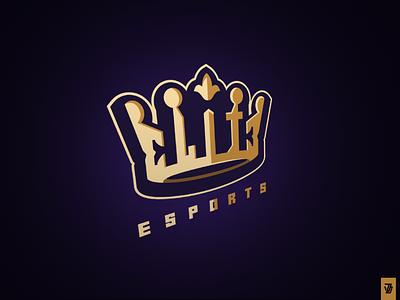 Elite Esports crown graphic design branding vector logo esports elite