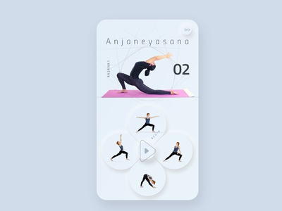 Guided yoga learning app, partial-skeuomorphic interface