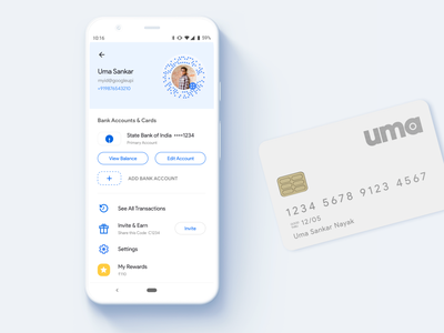 Google Pay Redesign - My Account Screen redesign concept app profile account redesign wallet finance money paypal payment google pay pay google