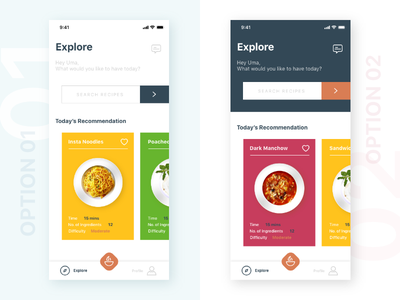 Choose - 01 or 02 recipe app user interface user experience clean hungry inspiration yummy breakfast food app food ios adobe xd design ux