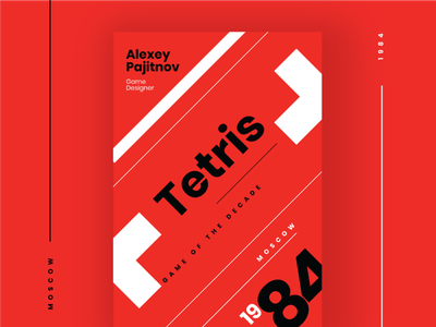 Tetris - Game of the Decade videogames red tribute poster game tetris poppins design vector adobe illustrator illustration typography