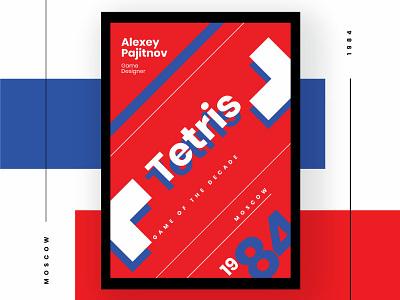 Tetris - A tribute 1980s tribute homage game tetris russia poster design vector illustration adobe illustrator typography