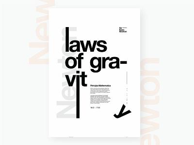 Laws Of Gravity - V2 newton black helvetica vector illustration adobe illustrator typography design