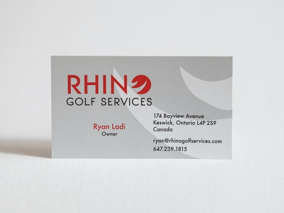 Rhino Golf Services card business card logo branding