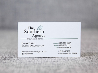 The Southern Agency card logo design business card logo branding