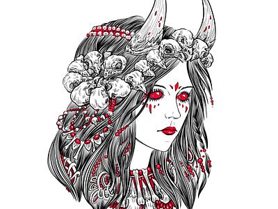 Demoness skulls line dark black and white illustration