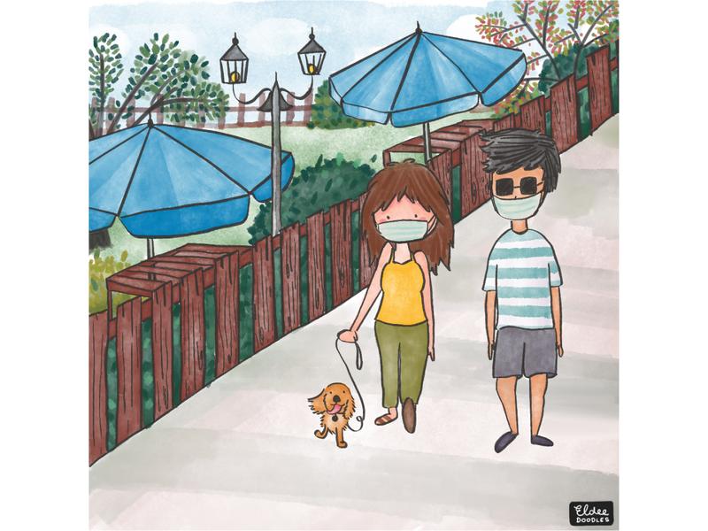 Summer Strolls love comic colors dog family couple dog illustration illustration art art garden walking beergarden covid19 dogs illustration summertime